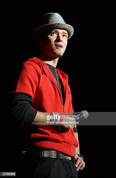 Justin Timberlake performs on the 2002 Z100 Jingle Ball at Madison Square garden in New York City December 12 2002 Photo by Frank...