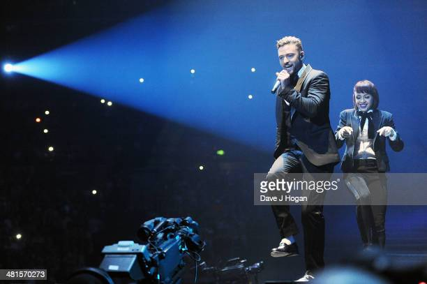 Justin Timberlake performs on the opening night of his UK tour at Motorpoint Arena on March 30 2014 in Sheffield England