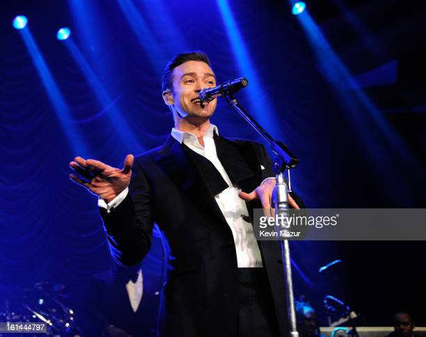 Justin Timberlake performs onstage at The Hollywood Palladium on February 10 2013 in Los Angeles California