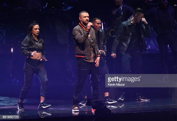 Justin Timberlake performs onstage during his 'The Man Of The Woods' tour at Air Canada Centre on March 13 2018 in Toronto Canada