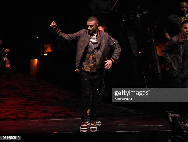 Justin Timberlake performs onstage during his The Man Of The Woods tour at Air Canada Centre on March 13 2018 in Toronto Canada