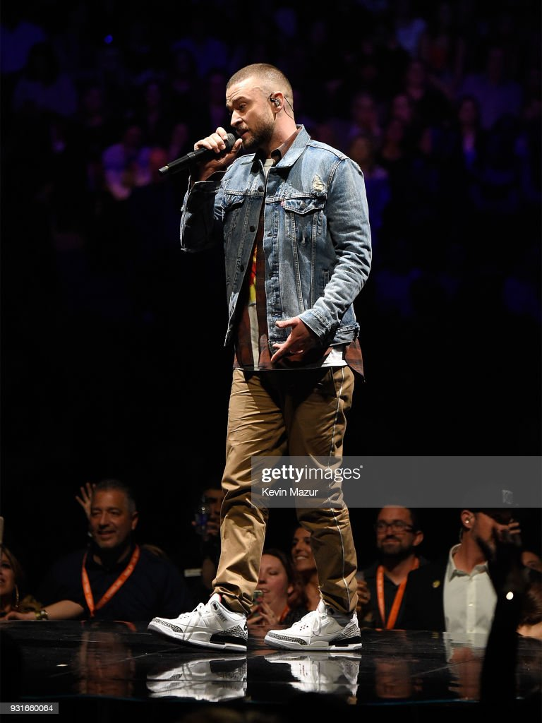 Justin Timberlake performs onstage during his 'The Man Of The Woods' tour at Air Canada Centre on March 13, 2018 in Toronto, Canada.