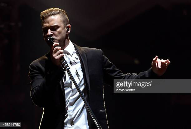 Justin Timberlake performs onstage during The 20/20 Experience World Tour at Staples Center on August 12 2014 in Los Angeles California
