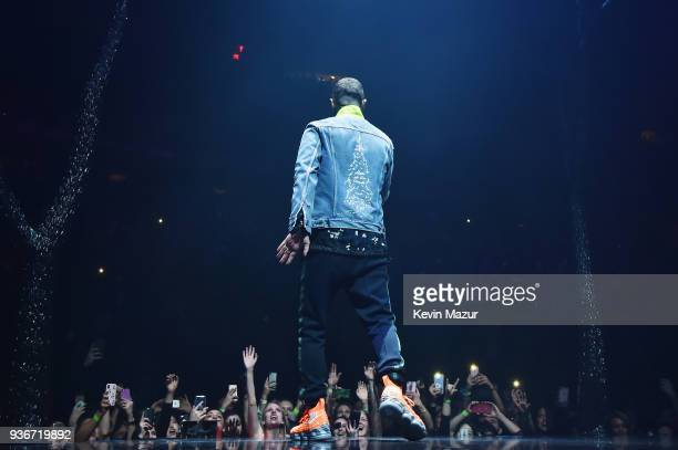 Justin Timberlake performs onstage during 'The Man of the Woods' Tour at Madison Square Garden on March 22 2018 in New York City