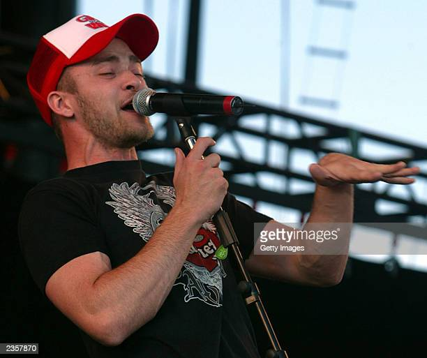 Justin Timberlake performs performs during the SARS relief concert held at Downsview Park July 30, 2003 in Toronto, Canada. An estimated 490,000 fans...