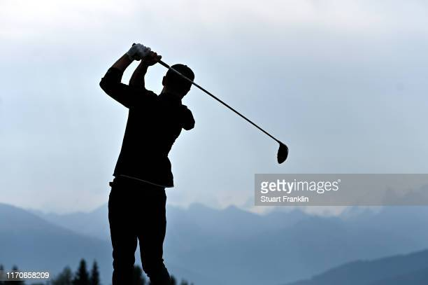 Justin Timberlake plays a shot during the Pro Am prior to the start of the Omega European Masters at CranssurSierre Golf Club on August 28 2019 in...