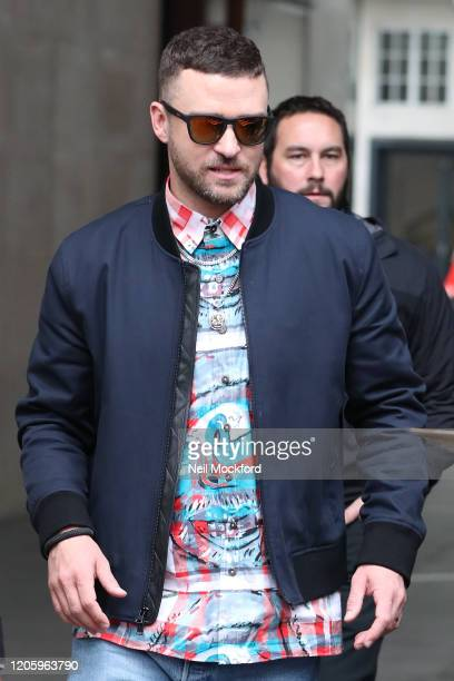Justin Timberlake seen at BBC RadIo One promoting new movie 'Trolls 2' on February 13 2020 in London England