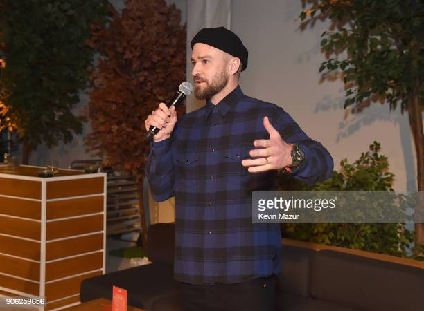 Justin Timberlake speaks at American Express x Justin Timberlake 'Man Of The Woods' listening session at Skylight Clarkson Sq on January 16 2018 in...