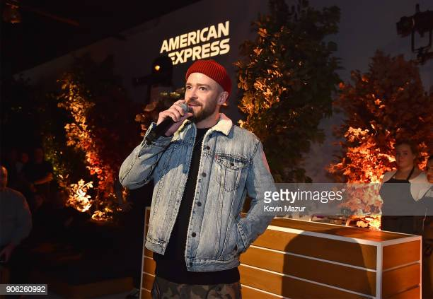 Justin Timberlake speaks during American Express x Justin Timberlake 'Man Of The Woods' listening session at Skylight Clarkson Sq on January 17 2018...