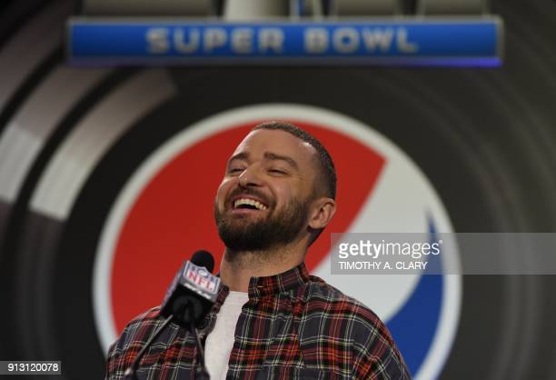 Justin Timberlake speaks during the Pepsi Super Bowl LII Halftime Show press conference February 1 2018 in Minneapolis Minnesota / AFP PHOTO /...