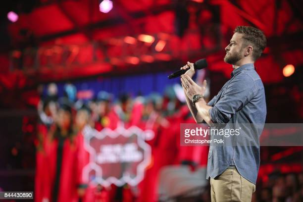 Justin Timberlake speaks on stage during XQ Super School Live presented by EIF at Barker Hangar on September 8 2017 in Santa California