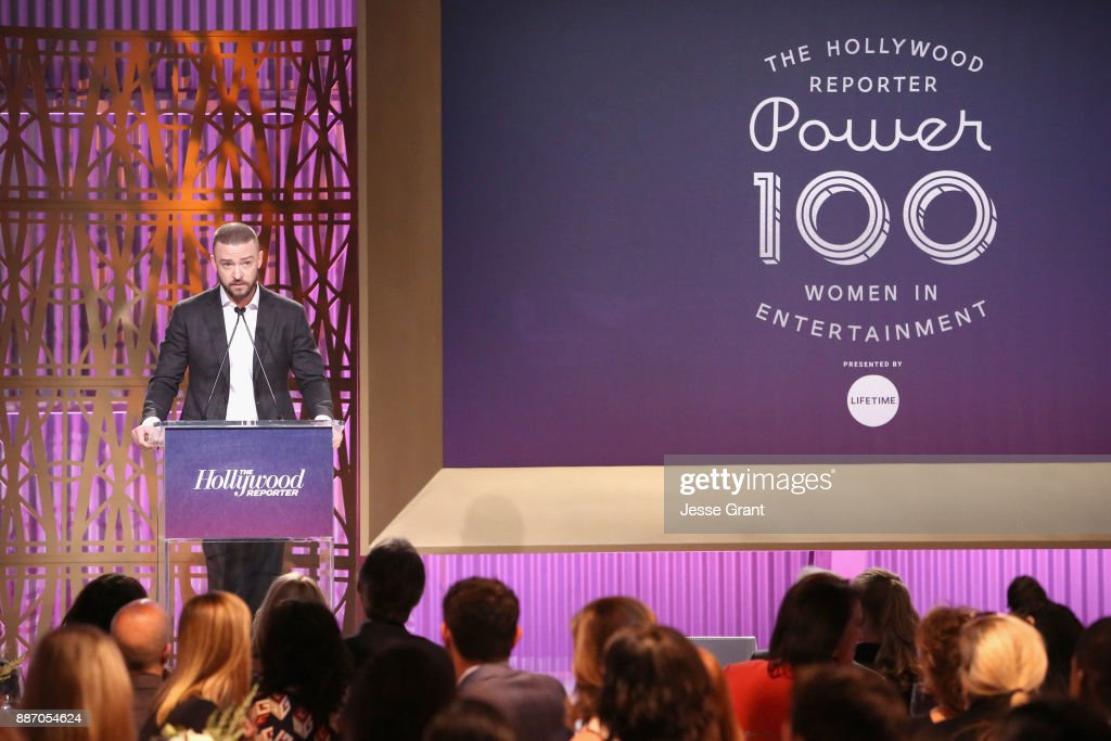 Justin Timberlake speaks onstage at The Hollywood Reporter's 2017 Women In Entertainment Breakfast at Milk Studios on December 6, 2017 in Los Angeles, California.