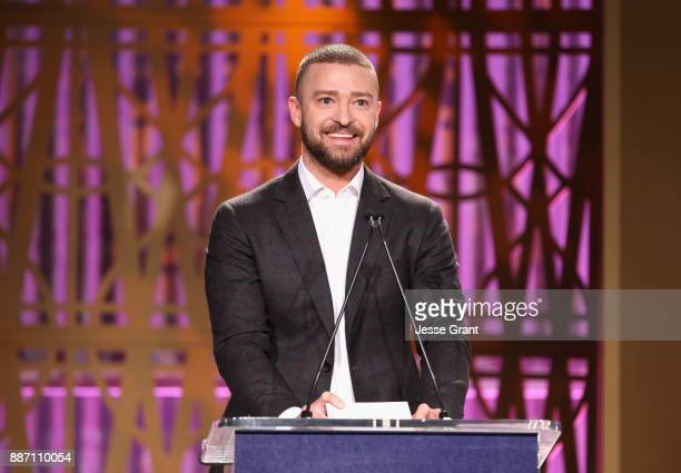 Justin Timberlake speaks onstage at The Hollywood Reporter's 2017 Women In Entertainment Breakfast at Milk Studios on December 6 2017 in Los Angeles...