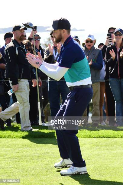 Justin Timberlake thanks the crowd on the 15th hole tee box during the Final Round of the AT&T Pebble Beach Pro-Am at Pebble Beach Golf Links on...