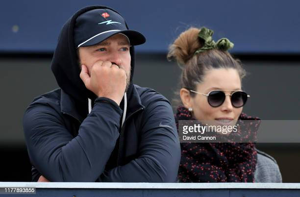 Justin Timberlake the American musician watches the golf with his wife Jessica Biel during the final round of the Alfred Dunhill Links Championship...