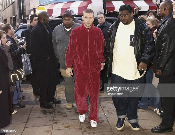 Justin Timberlake visits Planet Hollywood in Leicester Square whilst in London promoting his single 'Cry Me A River' on January 25 2003 in London