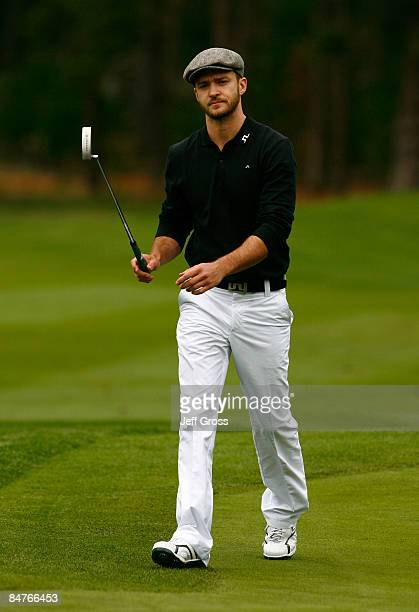 Justin Timberlake walks up to the sixth green during the first round of the AT&T Pebble Beach National Pro-Am at the Spyglass Hill Golf Course on...