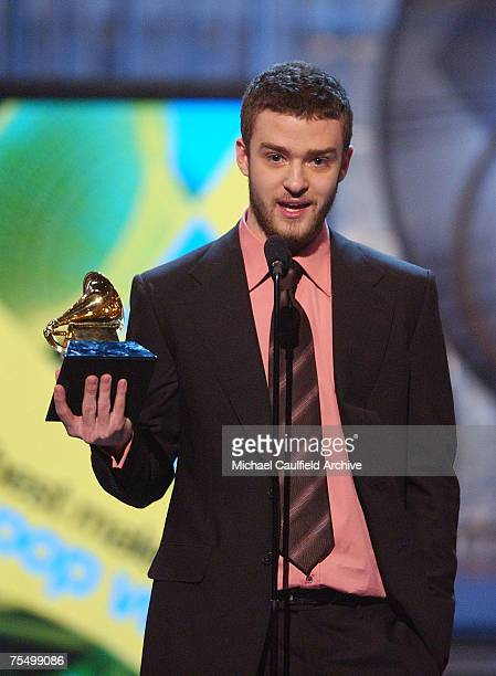 Justin Timberlake winner for Best Male Pop Vocal Performance during The 46th Annual GRAMMY Awards Show at the Staples Center in Los Angeles California