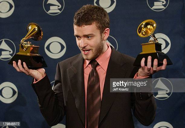 Justin Timberlake winner of Best Pop Vocal Album during The 46th Annual Grammy Awards Press Room at Staples Center in Los Angeles California United...