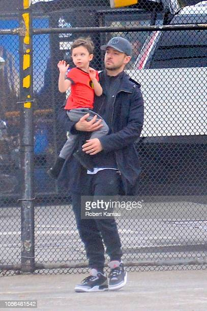 Justin Timberlakeand son Silas are seen at the Helipad on November 2 2018 in New York City