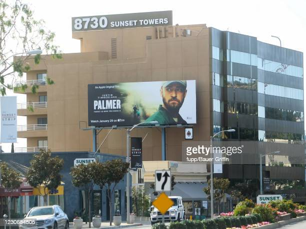 Justin Timberlake's billboard AD is seen in West Hollywood on January 19, 2021 in Los Angeles, California.