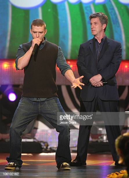 Justin Timerlake and Tom Bergeron presenters during Nickelodeon's 19th Annual Kids' Choice Awards Show at Pauley Pavilion in Westwood California...