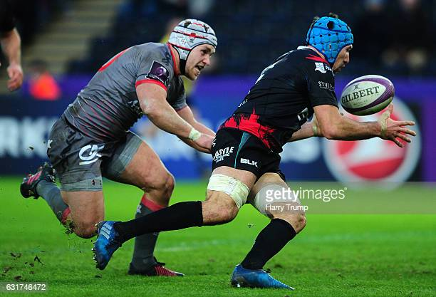 Justin Tipuric of Ospreys catches and collects the ball to go over for his sides try during the European Rugby Challenge Cup match between Ospreys...