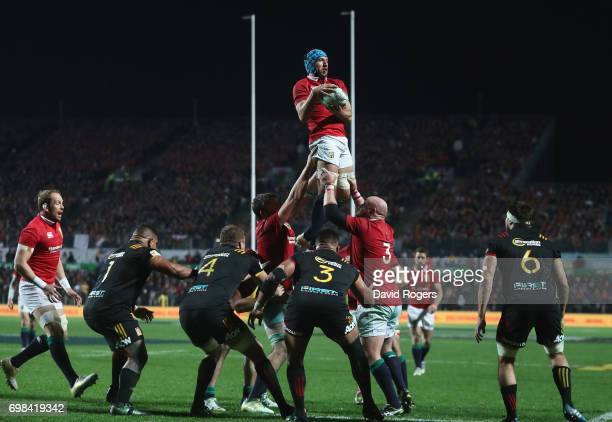 Justin Tipuric of the Lions wins the lineout during the match between the Chiefs and the British Irish Lions at Waikato Stadium on June 20 2017 in...