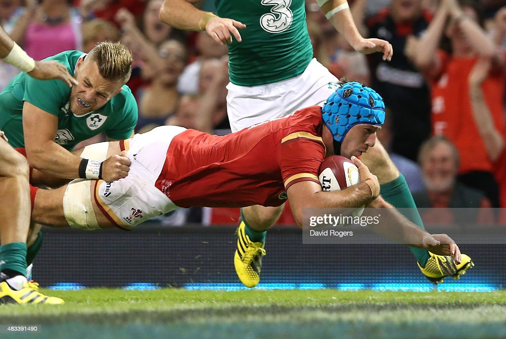 Justin Tipuric of Wales dives over for a try during the International match between Wales and Ireland at the Millennium Stadium on August 8, 2015 in Cardiff, Wales.