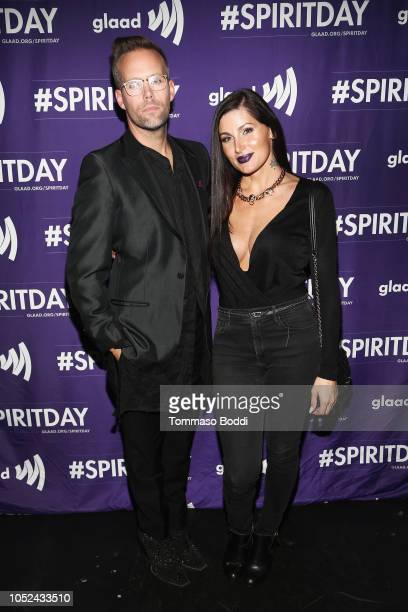 Justin Tranter and Trace Lysette attend Justin Tranter And GLAAD Present 'BEYOND' Spirit Day Concert at The Sayers Club on October 17 2018 in...