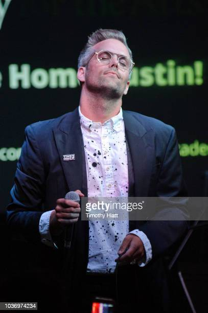 Justin Tranter performs at the Justin Tranter Recording Studio ribbon cutting at The Chicago Academy For The Arts on September 20 2018 in Chicago...