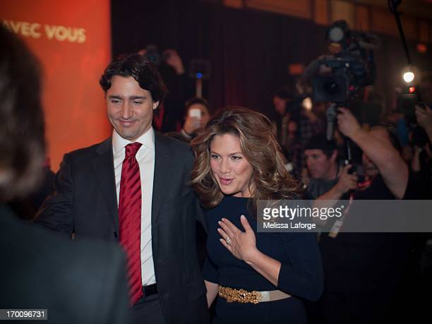 Justin Trudeau arrives at the Federal Liberal Leadership Results Announcement, with his wife Sophie Gr?goire Trudeau. He was declared Leader of the...