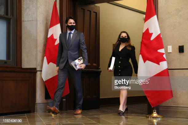 Justin Trudeau, Canada's prime minister, and Chrystia Freeland, Canada's deputy prime minister and minister of finance, arrive for a photo...