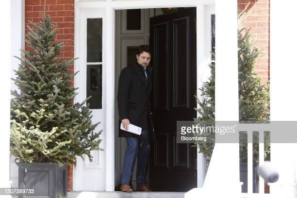 Justin Trudeau Canada's prime minister arrives for a news conference in front of Rideau Cottage in Ottawa Ontario Canada on Monday March 16 2020...