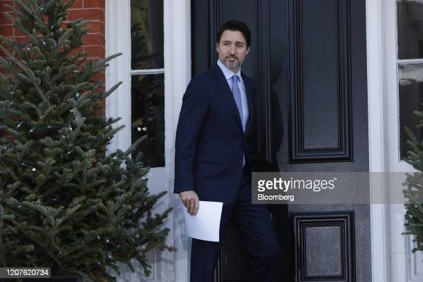 Justin Trudeau Canada's prime minister arrives for a news conference in front of Rideau Cottage in Ottawa Ontario Canada on Wednesday March 18 2020...