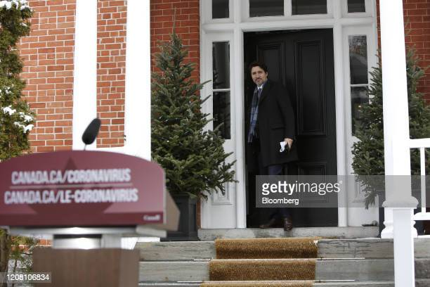 Justin Trudeau Canada's prime minister arrives for a news conference outside Rideau Cottage in Ottawa Ontario Canada on Tuesday March 24 2020...
