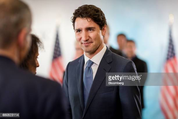 Justin Trudeau Canada's prime minister arrives to speak during a roundtable discussion at the 2017 CERAWeek by IHS Markit conference in Houston Texas...
