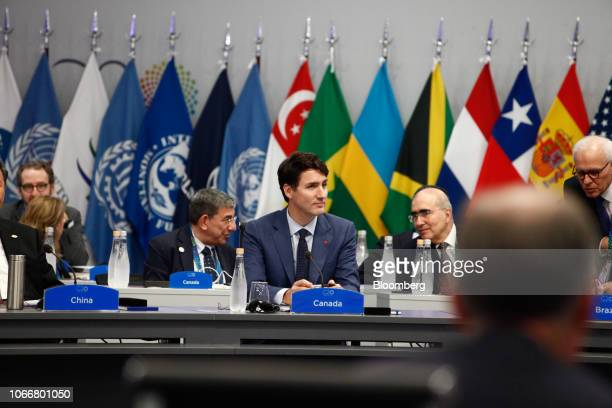 Justin Trudeau Canada's prime minister center attends the plenary at the G20 Leaders' Summit in Buenos Aires Argentina on Friday Nov 30 2018 The...