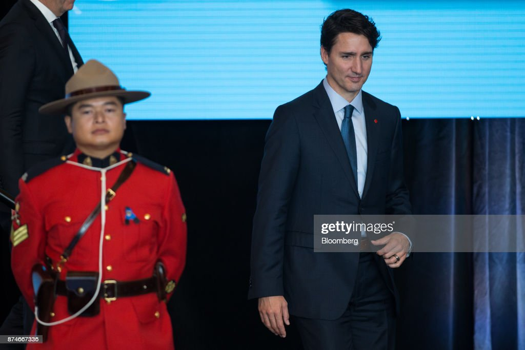 Justin Trudeau, Canada's prime minister, exits the stage after speaking during the 2017 UN Peacekeeping Defence Ministerial conference in Vancouver, British Columbia, Canada, on Wednesday, Nov. 15, 2017. Over 500 delegates from more than 70 countries and international organizations will gather at the upcoming Defence Ministerial to discuss improvements to UN peacekeeping operations and focus on securing new pledges from Member States. Photographer: Ben Nelms/Bloomberg via Getty Images