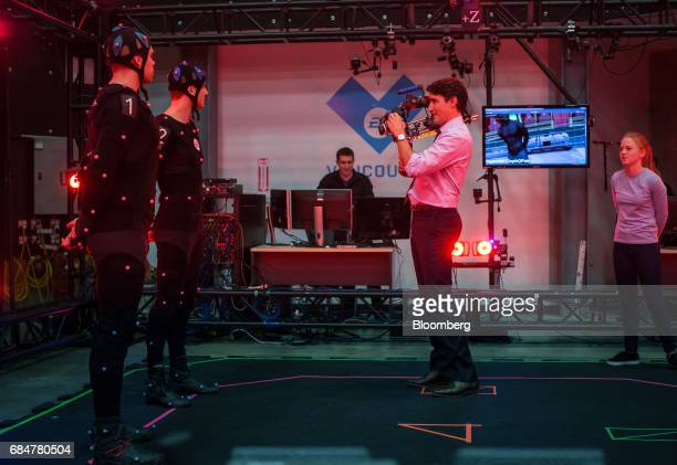 Justin Trudeau Canada's prime minister films a motion capture scene during a visit to the Electronic Arts Canada Inc Capture Lab in Burnaby British...
