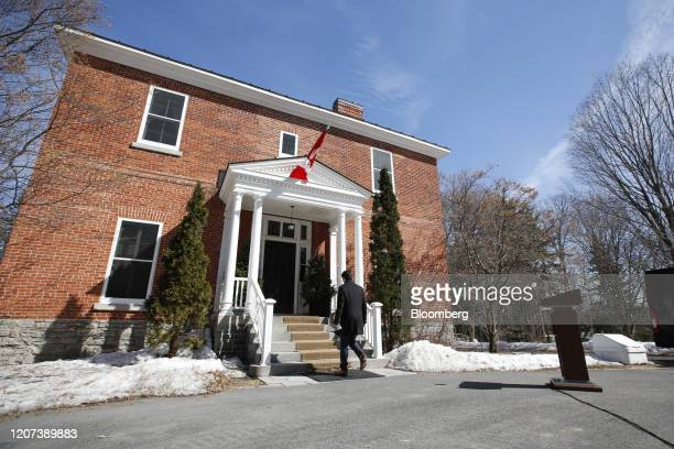 Justin Trudeau Canada's prime minister leaves following a news conference in front of Rideau Cottage in Ottawa Ontario Canada on Monday March 16 2020...