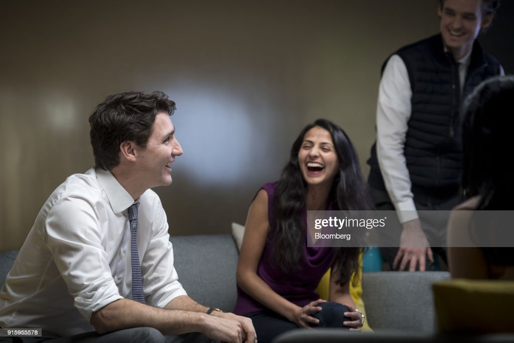 Justin Trudeau, Canada's prime minister, left, meets with employees of AppDirect Inc., in San Francisco, California, U.S., on Thursday, Feb. 8, 2018. Technology and innovation is at the center of Trudeau's economic vision for Canada, so his visit to San Francisco is as much about symbolism as it is about drumming up new business. Photographer: David Paul Morris/Bloomberg via Getty Images