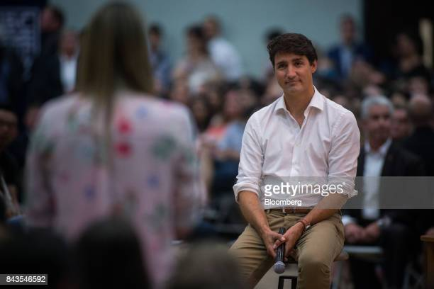 Justin Trudeau Canada's Prime Minister listens during a town hall meeting at the University of British Columbia Okanagan campus during the Federal...