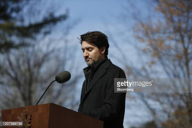 Justin Trudeau Canada's prime minister pauses while speaking during a news conference in front of Rideau Cottage in Ottawa Ontario Canada on Monday...