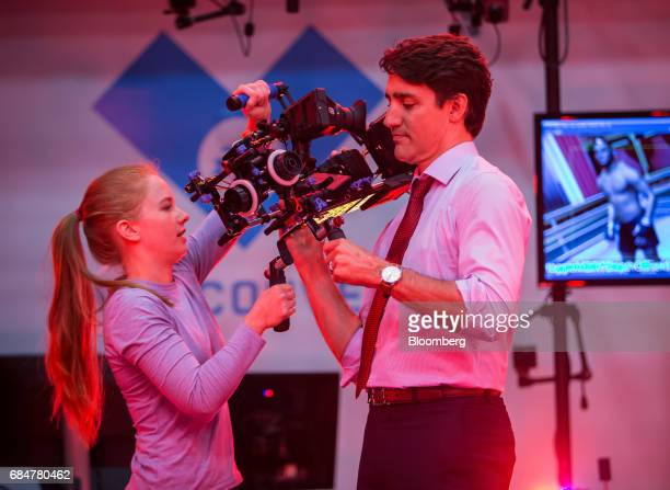 Justin Trudeau Canada's prime minister prepares to film a motion capture scene during a visit to the Electronic Arts Canada Inc Capture Lab in...