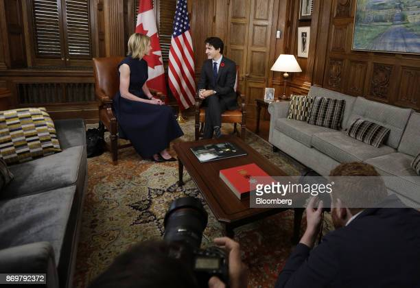 Justin Trudeau Canada's prime minister right speaks as Kelly Craft US ambassador to Canada listens during a meeting in his office at Parliament Hill...
