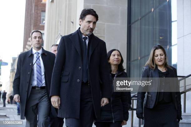 Justin Trudeau Canada's prime minister second left Theresa Tam Canada's chief public health officer and Chrystia Freeland Canada's deputy prime...