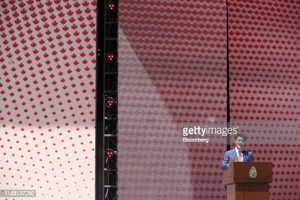 Justin Trudeau Canada's prime minister speaks during a Canada Day event on Parliament Hill in Ottawa Ontario Canada on Monday July 1 2019 Canada Day...