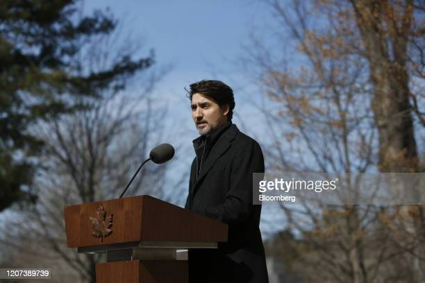 Justin Trudeau Canada's prime minister speaks during a news conference in front of Rideau Cottage in Ottawa Ontario Canada on Monday March 16 2020...