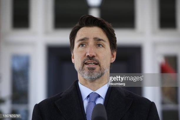 Justin Trudeau Canada's prime minister speaks during a news conference in front of Rideau Cottage in Ottawa Ontario Canada on Wednesday March 18 2020...